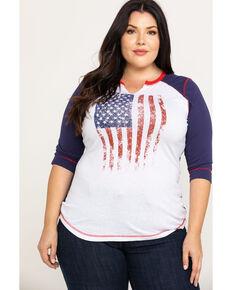 White Label by Panhandle Women's American Flag Baseball Tee - Plus, White, hi-res