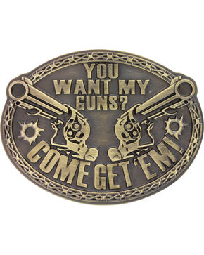 Montana Silversmiths Men's Brass Come Get Em' Belt Buckle , Silver, hi-res