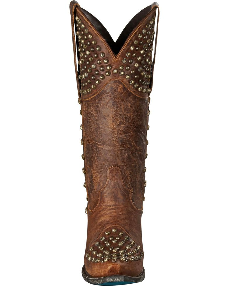 Lane Rock On Studded Cowgirl Boots - Snip Toe, Brown, hi-res