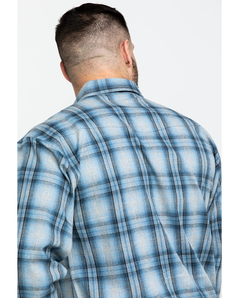 Powder River Outfitters Men's Brushed Heather Plaid Long Sleeve Flannel Shirt , Blue, hi-res