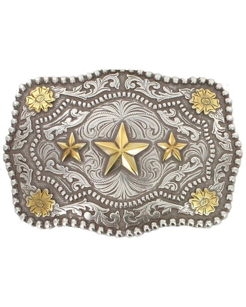 Cody James Men's Triple Star Belt Buckle, Silver, hi-res