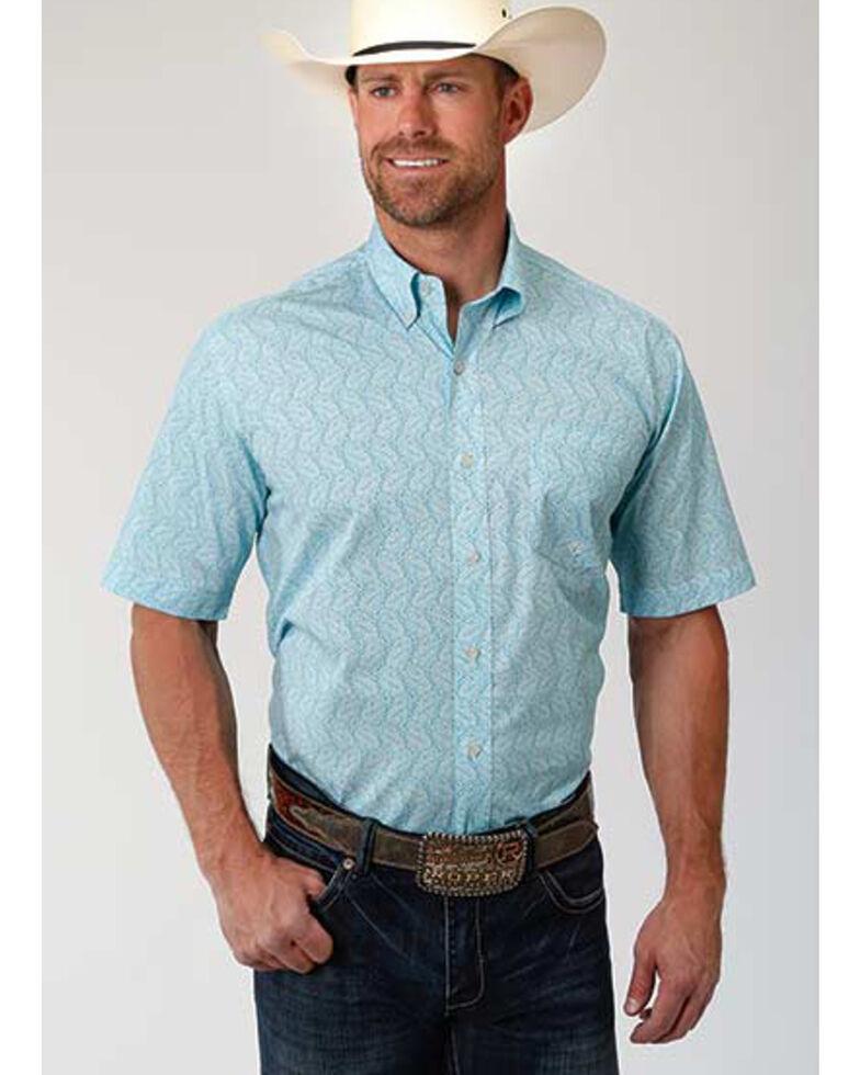 Amarillo Men's Oasis Nested Paisley Print Short Sleeve Western Shirt , Blue, hi-res