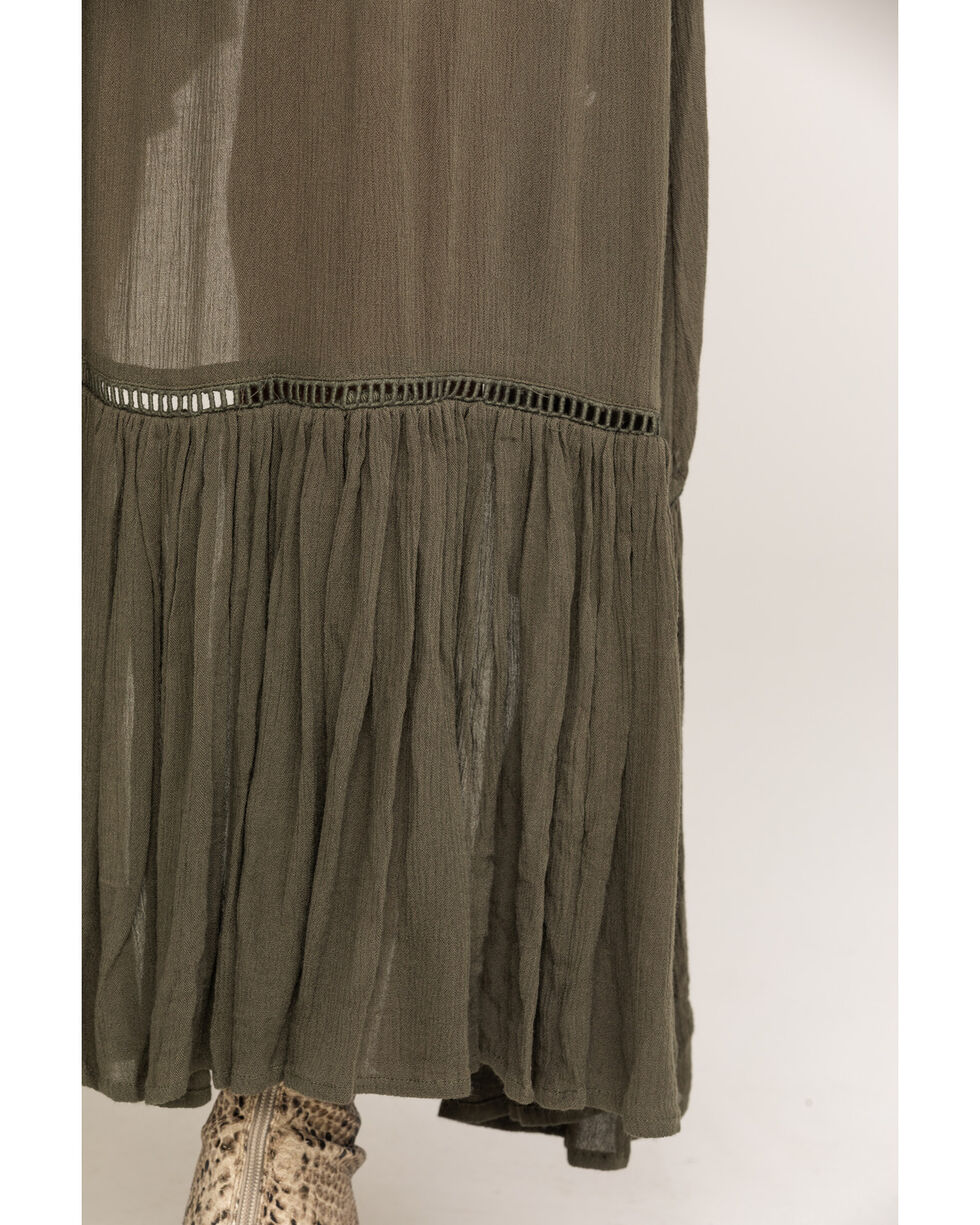 Shyanne Women's Olive Button Down Maxi Skirt, Olive, hi-res