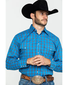 Wrangler Men's Wrinkle Resistant Multi Large Plaid Long Sleeve Western Shirt , Bright Blue, hi-res