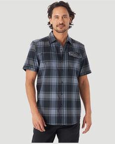 Wrangler ATG Men's All-Terrain Black Plaid Hike-To-Fish Short Sleeve Button-Down Western Shirt , Black, hi-res