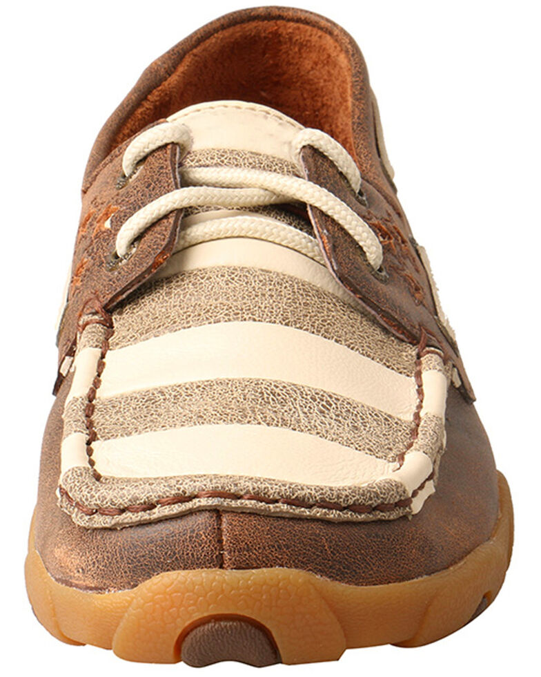Twisted X Women's Stars and Stripes Driving Moccasins - Moc Toe , Brown, hi-res