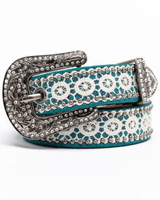 Shyanne Girls' Turquoise Skinny Cream Lace Western Belt , Turquoise, hi-res