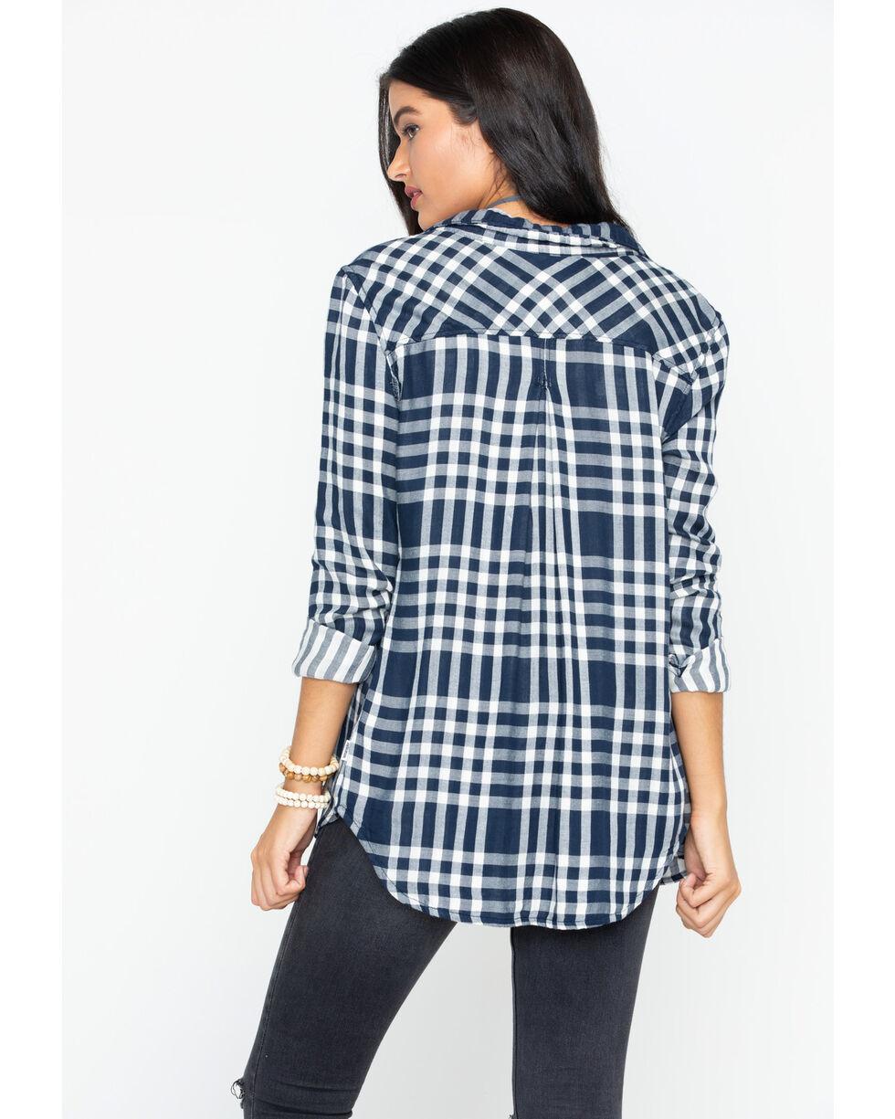 Wrangler Women's Modern Born Ready Fluid Button-Down Shirt, Navy, hi-res