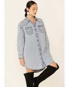 Wrangler Women's Long Sleeve Western Dress, Blue, hi-res