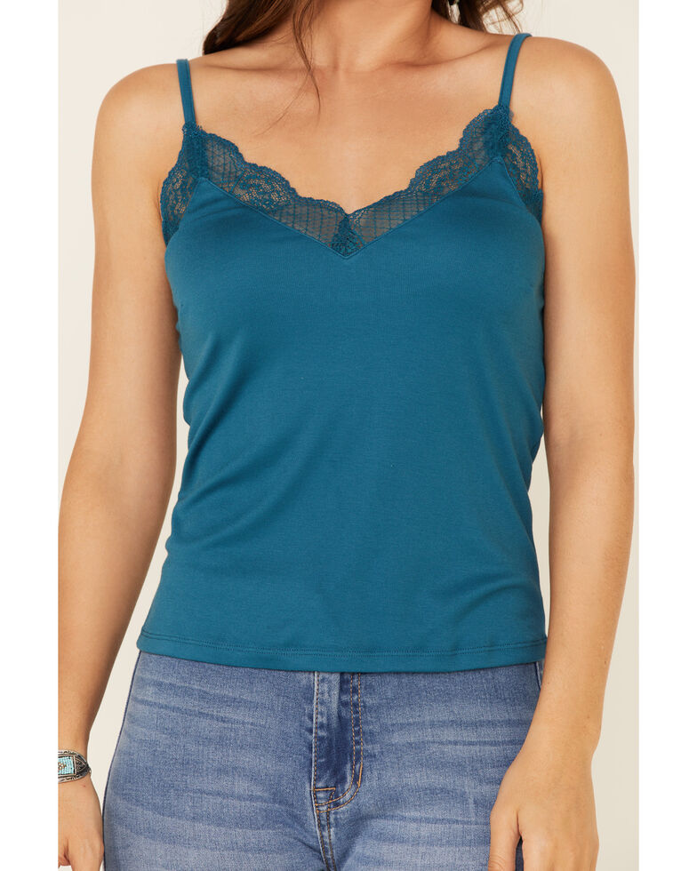 Rock & Roll Denim Women's Teal Lace Trimmed Knit Cami Tank Top, Teal, hi-res