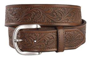 Ariat Golden Tooled Western Belt - Reg & Big, Brown, hi-res