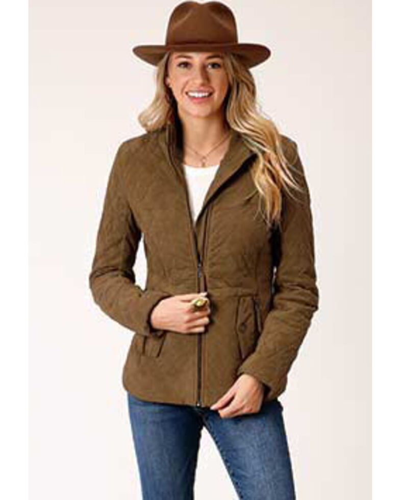 Stetson Women's Diamond Quilted Suede Jacket , Tan, hi-res