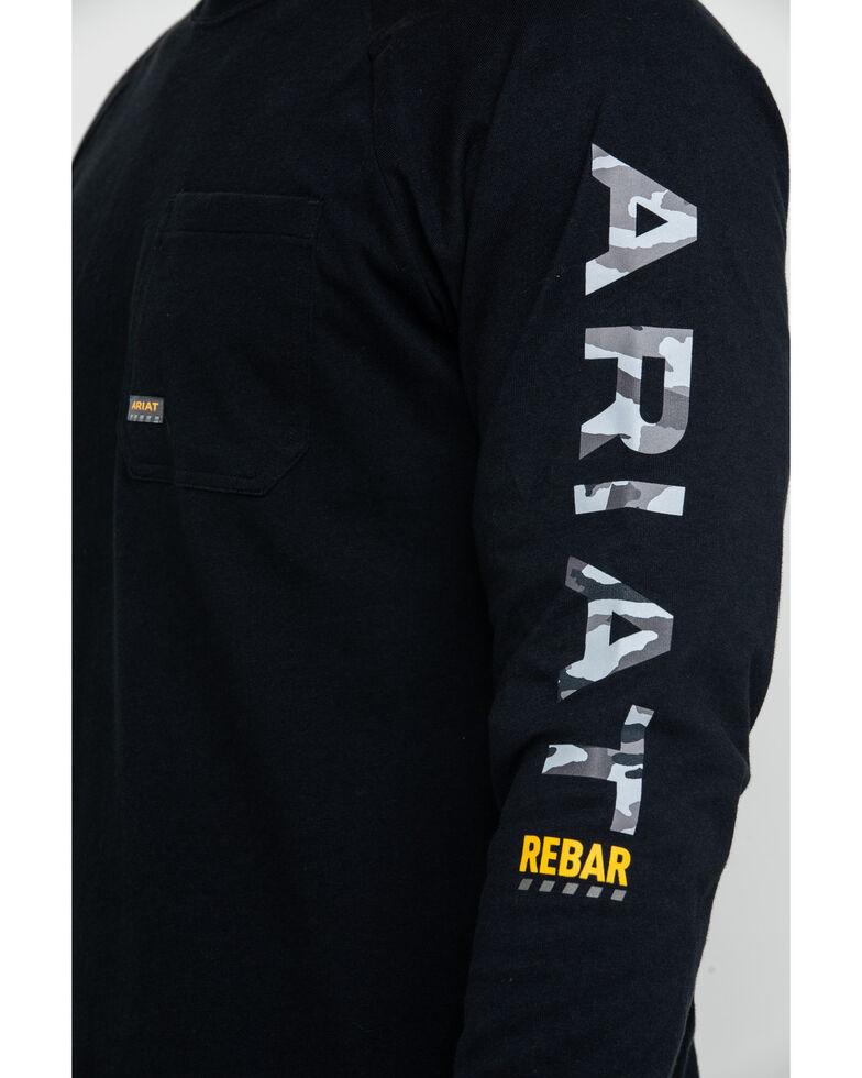 Ariat Men's Black Rebar Cotton Strong Graphic Long Sleeve Work Shirt - Big & Tall , Black, hi-res