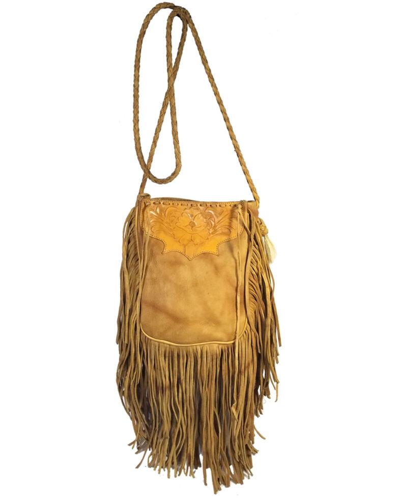 Kobler Tooled Fringe Leather Handbag, Beige, hi-res