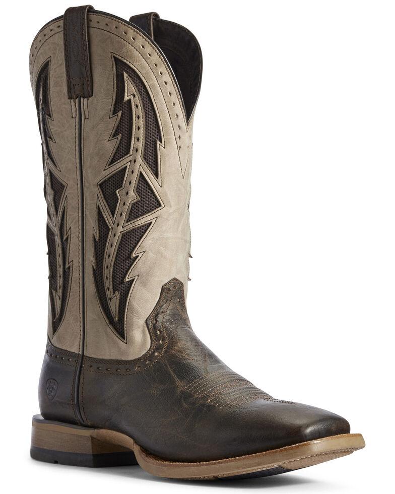 Ariat Men's Brown Cowhand VentTEK Western Boots - Wide Square Toe, Brown, hi-res