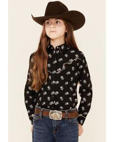 Rock & Roll Denim Girls' Black Floral Print Snap Long Sleeve Snap Western Shirt , Black, hi-res