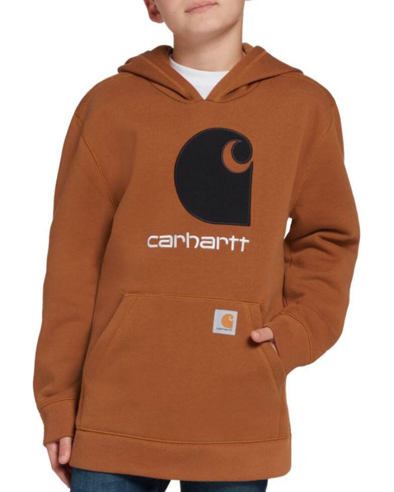 Carhartt Boys' Brown Logo Applique Hooded Fleece Sweatshirt , Brown, hi-res