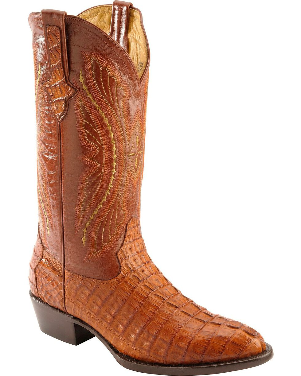 Ferrini Cognac Caiman Tail Cowboy Boots - Medium Toe, Cognac, hi-res