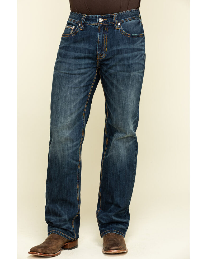 Rock & Roll Denim Men's Double Barrel Dark Stretch Relaxed Straight Jeans , Blue, hi-res
