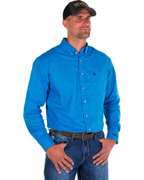 Noble Outfitters Men's Blue Generations Oxford Star Print Shirt , Blue, hi-res