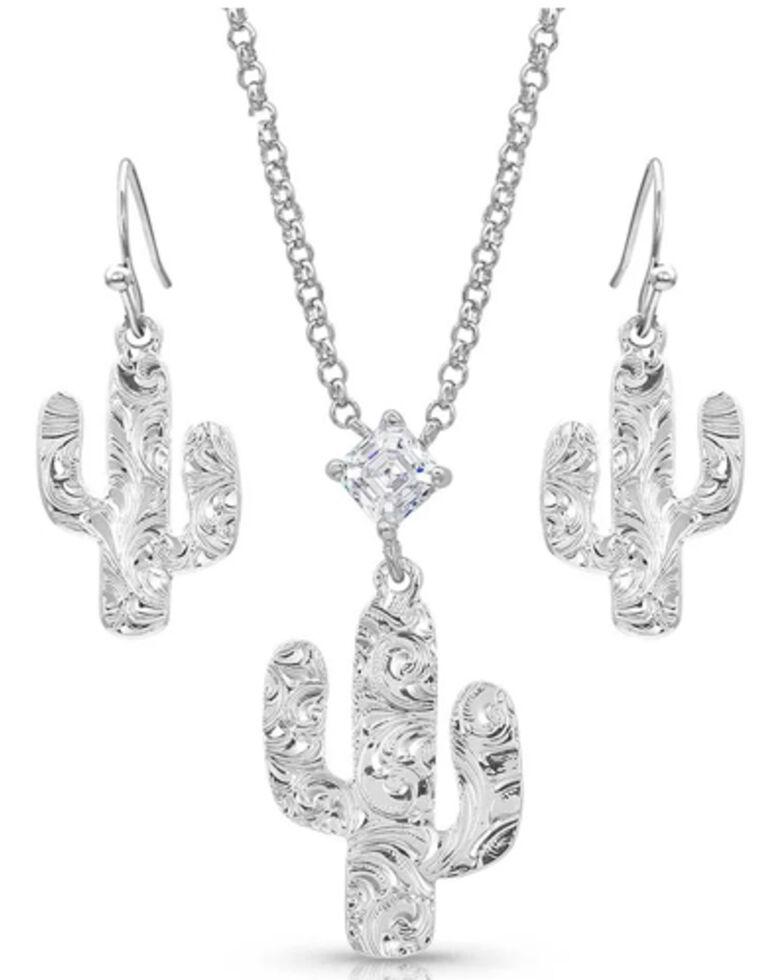Montana Silversmiths Women's Desert Full Moon Cactus Jewelry Set, Silver, hi-res