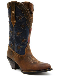 Durango Women's Crush American Flag Western Boots - Round Toe, Brown, hi-res
