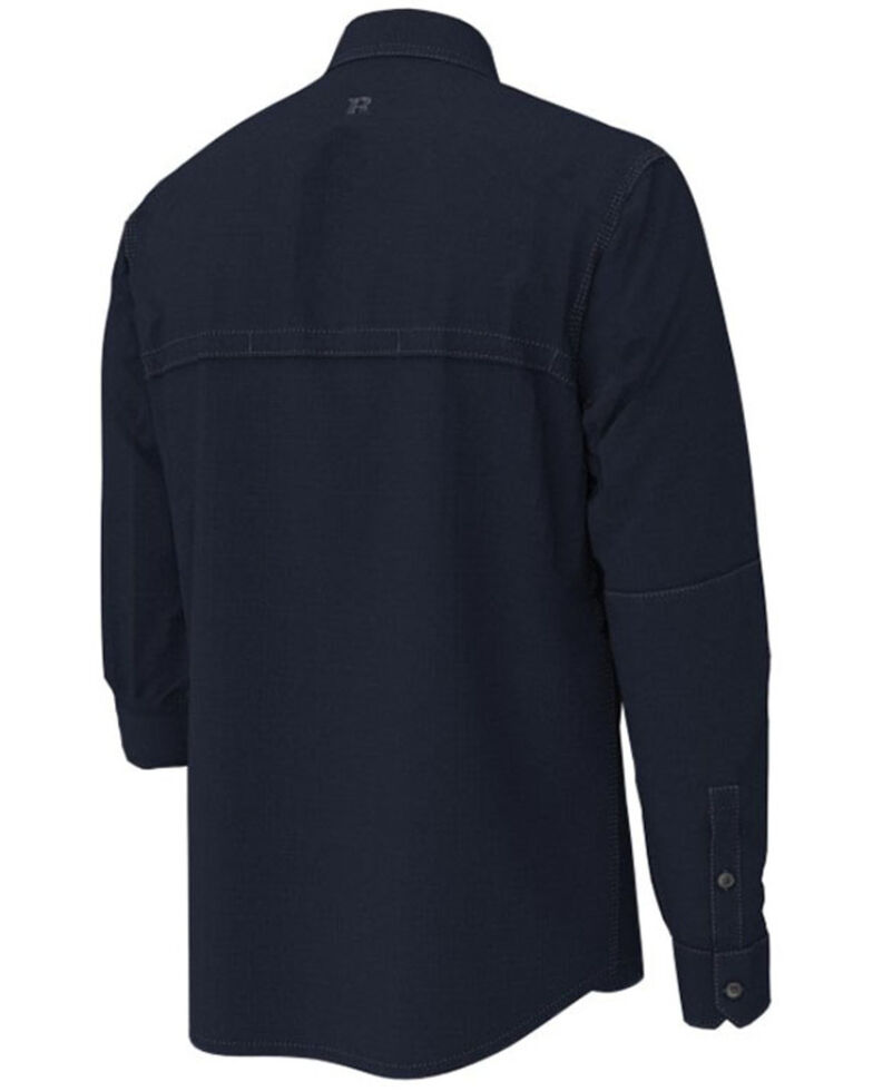 Wrangler Riggs Men's Solid Navy Vented Long Sleeve Button-Down Work Shirt - Big , Navy, hi-res