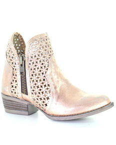 Corral Women's Pink Gold Cut Out Fashion Booties - Round Toe, Gold, hi-res