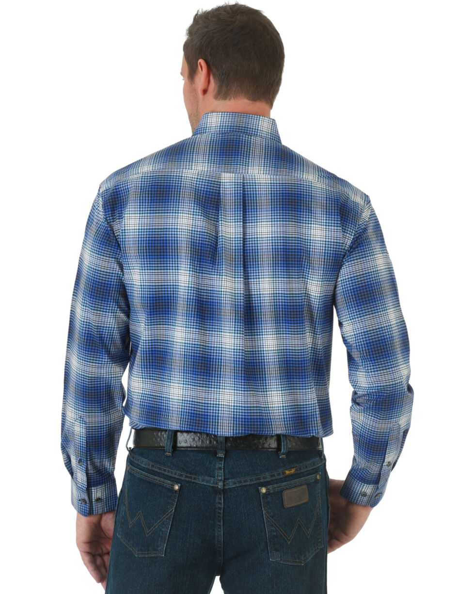 Wrangler Advanced Comfort Blue and Black Plaid Western Shirt, , hi-res