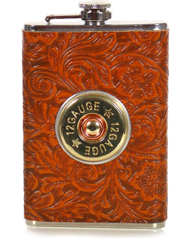 Boot Barn Ranch 12 Gauge Tooled Flask, No Color, hi-res