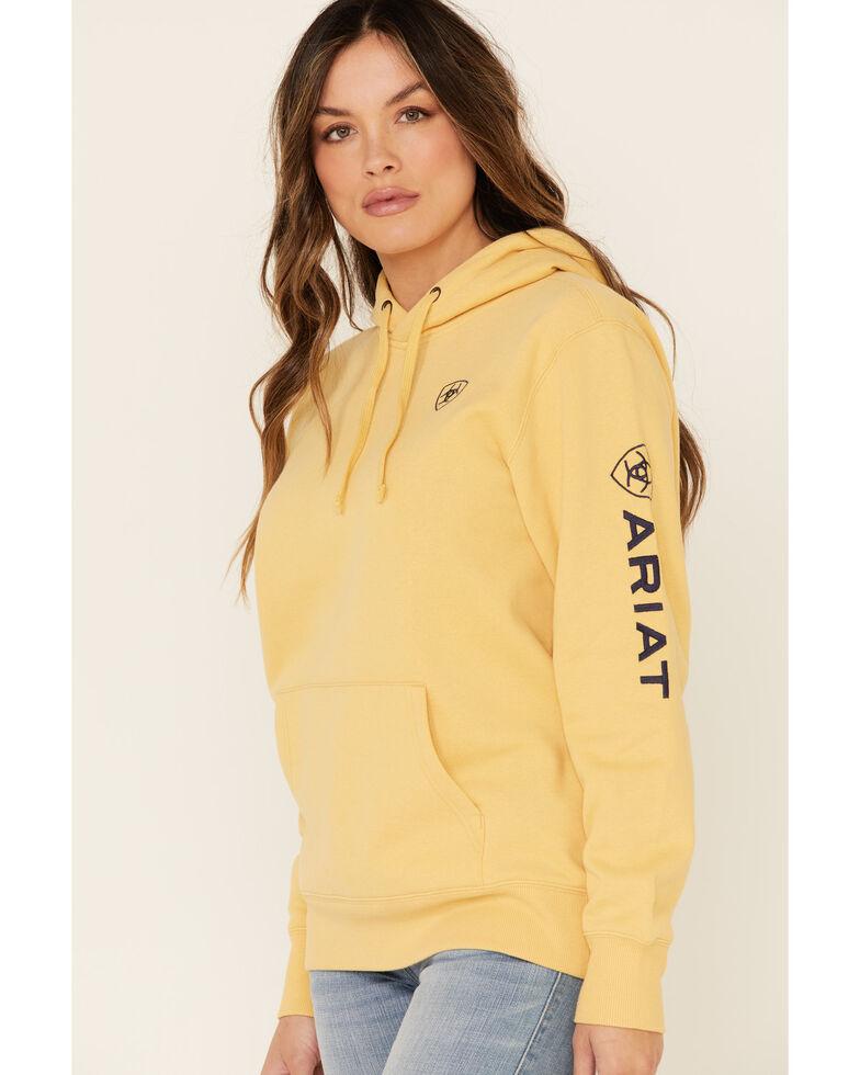 Ariat Women's Sleeve Logo Embroidered Hooded Sweatshirt , Dark Yellow, hi-res