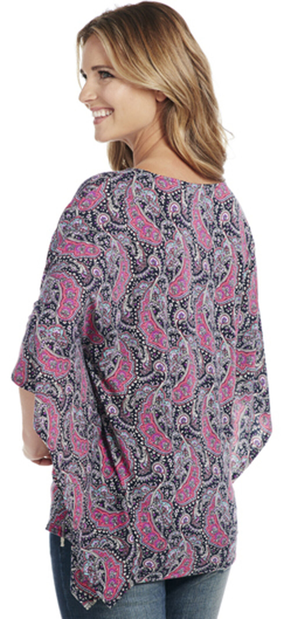 Cowgirl Up Women's Print Poncho, Black, hi-res