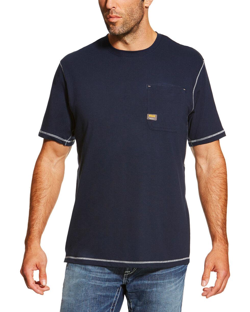 Ariat Men's Navy Rebar Crew Short Sleeve Pocket Tee - Tall, Navy, hi-res