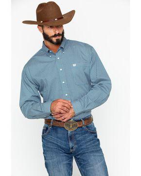 Cinch Men's Blue Print Long Sleeve Button Down Shirt, Blue, hi-res