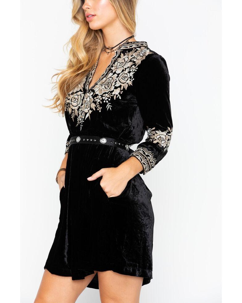 Johnny Was Women's Olenna Velvet Henley Boho Dress , Black, hi-res