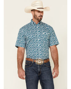 George Strait By Wrangler Men's Emerald Paisley Print Short Sleeve Button-Down Western Shirt , White, hi-res