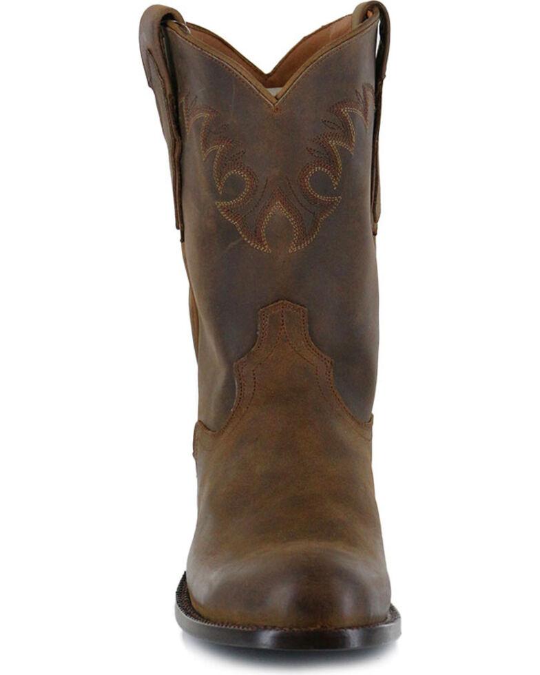 El Dorado Men's Handmade Tan Distressed Roper Western Boots - Round Toe , Tan, hi-res