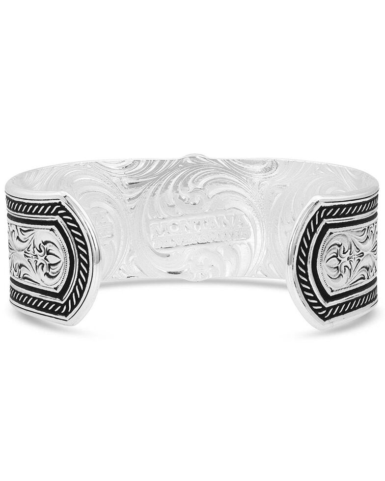 Montana Silversmiths Women's Antiqued Carved Peony Cuff Bracelet, Multi, hi-res