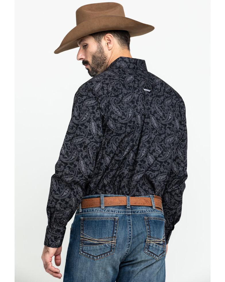 Tuf Cooper Men's Black Stretch Paisley Print Button Long Sleeve Western Shirt , Black, hi-res