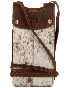 STS Ranchwear Women's Cowhide Cell Phone Crossbody, Brown, hi-res
