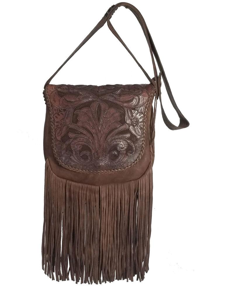 Kobler Leather Women's Brown Tooled Crossbody Bag, Dark Brown, hi-res