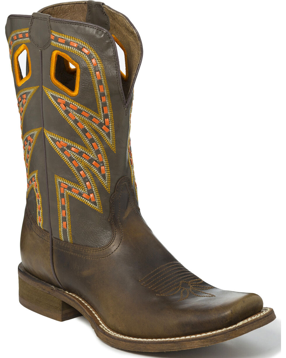 Nocona Men's Zig Zag Saddle Stitch Cowboy Boots - Square Toe, Tan, hi-res