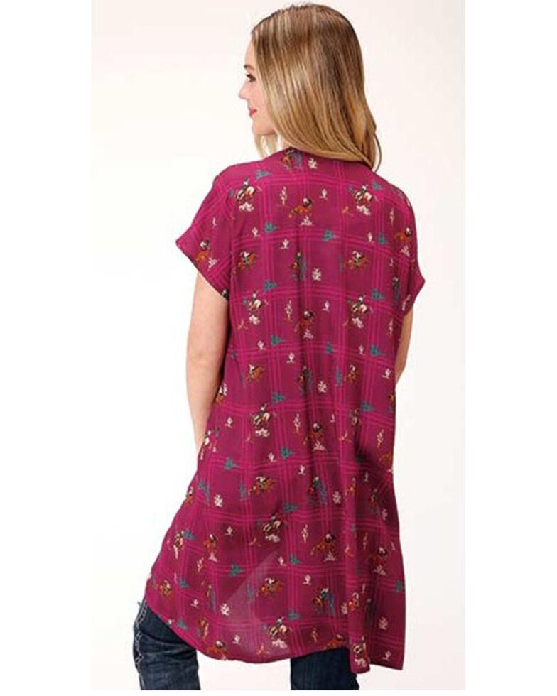 Five Star Women's Pink Retro Cowboy Print Kimono, Dark Pink, hi-res