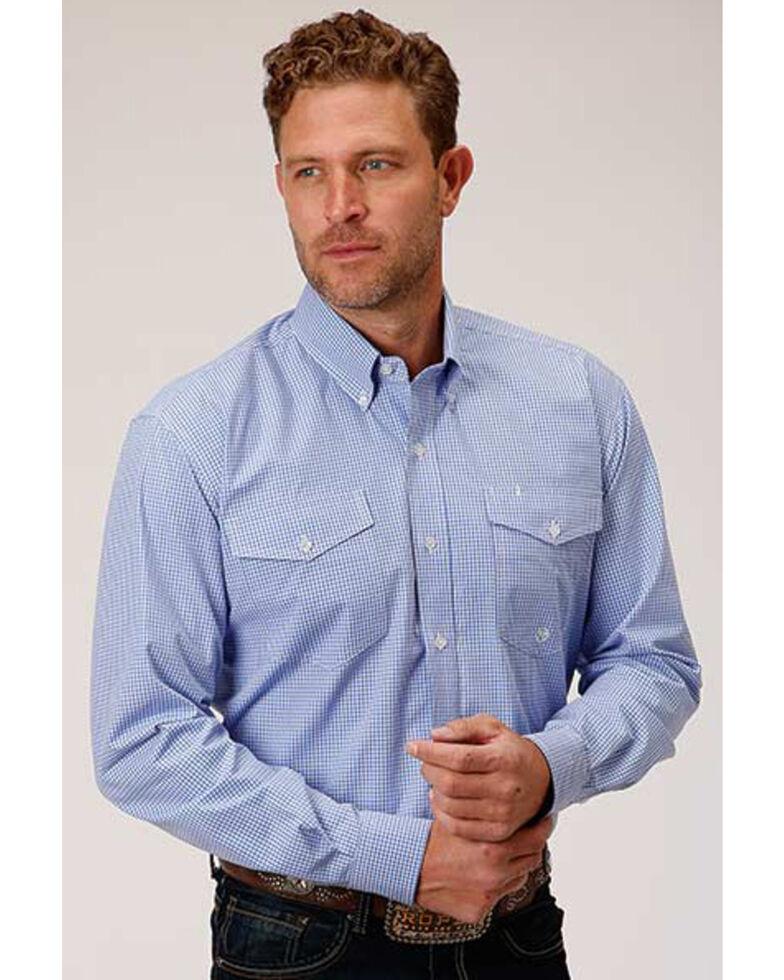 Amarillo Men's Perwinkle Mini Check Plaid Long Sleeve Western Shirt , Blue, hi-res