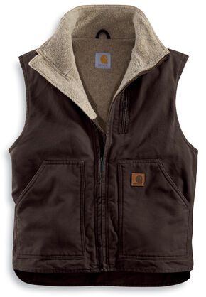 Carhartt Sherpa Lined Sandstone Duck Work Vest - Big & Tall, Brown, hi-res