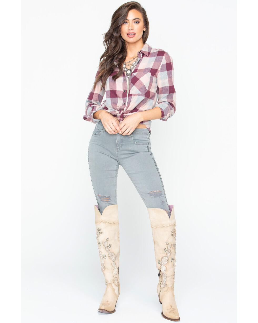 Shyanne Women's Buffalo Check Plaid Shirt , Blush, hi-res