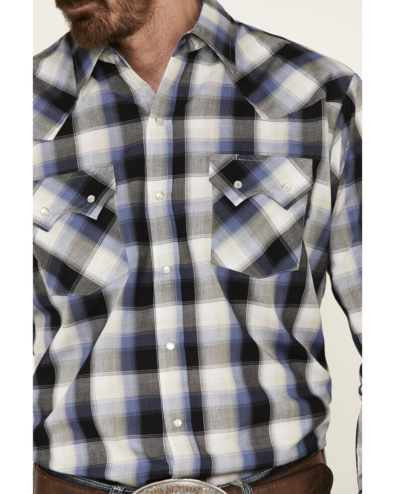 Ely Walker Men's Black Small Plaid Long Sleeve Western Shirt - Big , Black, hi-res