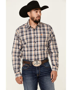 Cinch Men's Charcoal Plaid Long Sleeve Button-Down Western Shirt , Charcoal, hi-res
