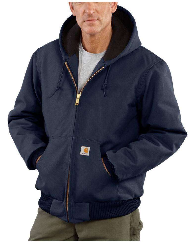 Carhartt Quilted Flannel-Lined Duck Active Jacket, Navy, hi-res