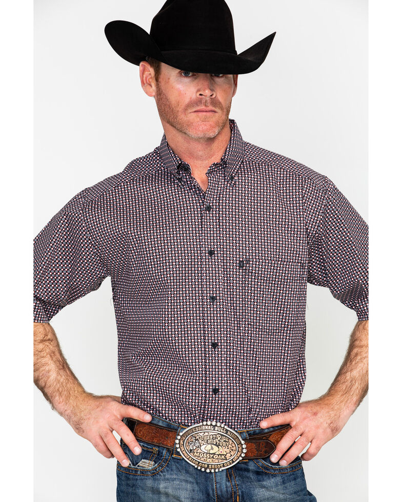 Tuf Cooper Men's Competition Stretch Geo Print Short Sleeve Western Shirt , Black, hi-res